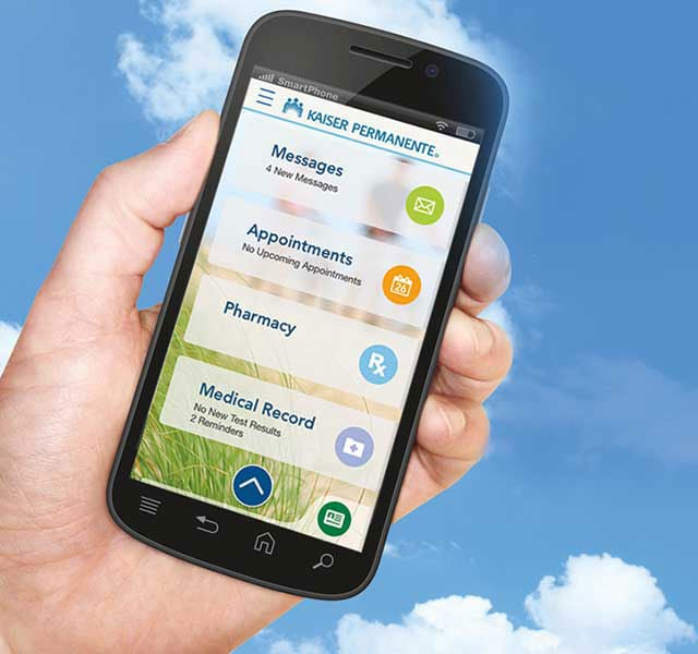 Photo of smartphone showing Kaiser Permanente app
