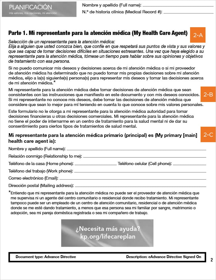 Advanced Health Care Directive guide, California, Spanish, page 2
