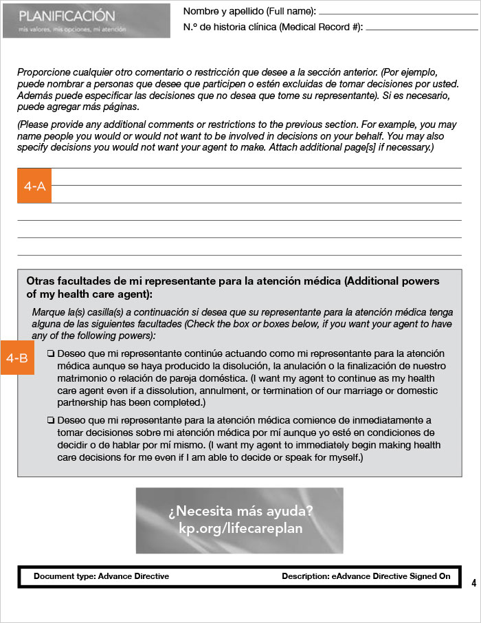 Advanced Health Care Directive guide, California, Spanish, page 4