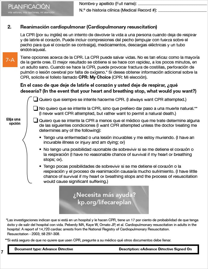Advanced Health Care Directive guide, California, Spanish, page 7