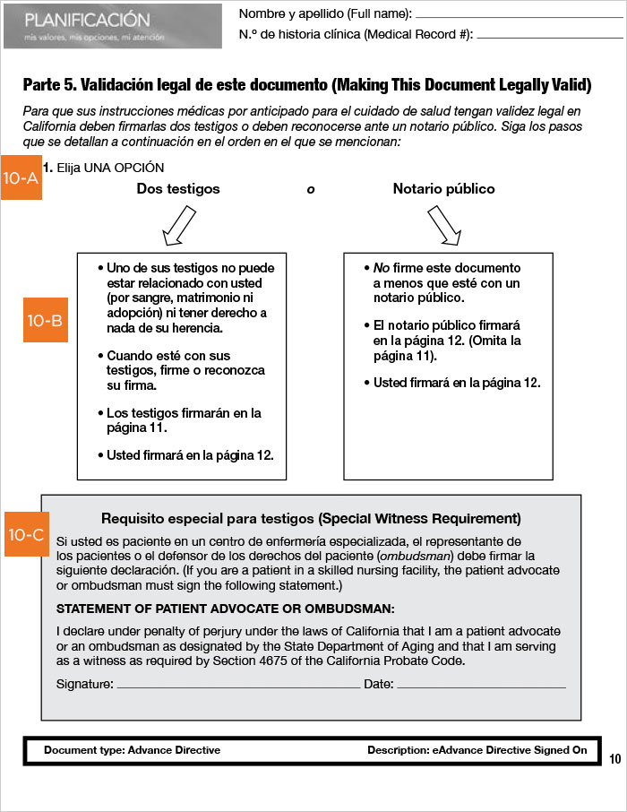 Advanced Health Care Directive guide, California, Spanish, page 10
